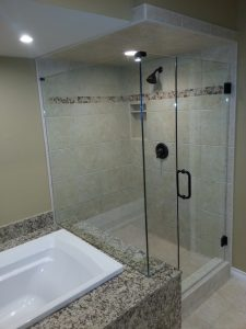 Corner shower frameless glass