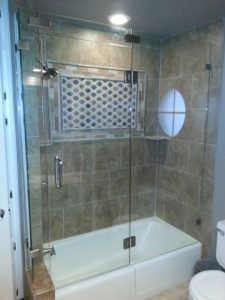 tub shower frameless enclosure